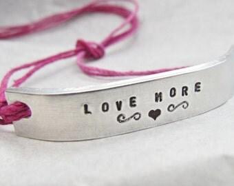 Love More Bracelet ONE Custom Hand Stamped Jewelry Name Tie On Hemp Cord Personalized Friendship Style Feminine Romantic