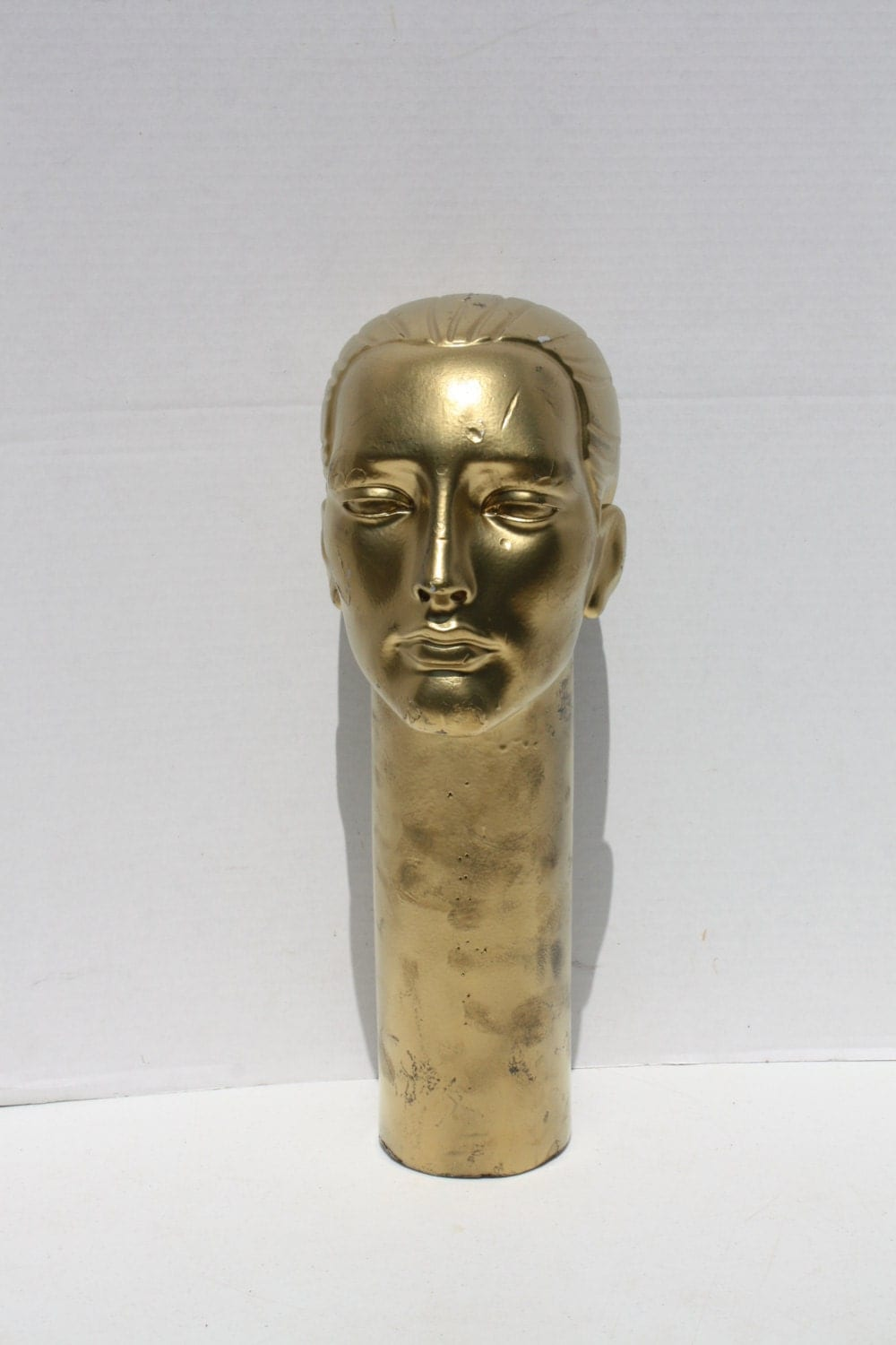Vintage Mannequin Head Male Long Neck Gold Foam Store Display