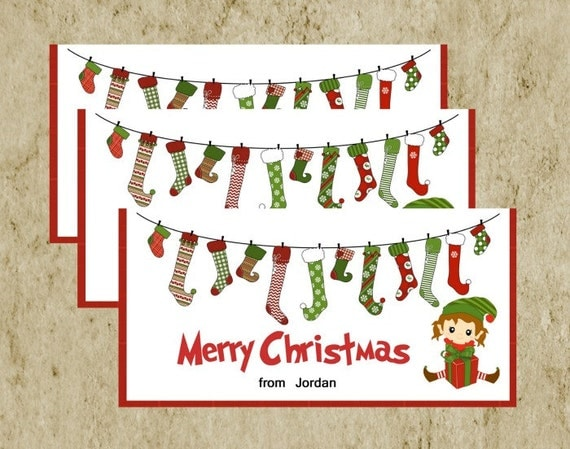 Christmas Treat Bag Topper/ DIY Printable/ Merry Christmas Elf