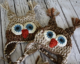 Twin Baby Hats - Baby Owl Hats - Twin Owl Hat Set - Two Owl Hats - Buy More and Save - Mix and Match Colors and Sizes - by JoJo's bootique