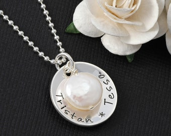 Hand Stamped Necklace - One Disc Charm - Personalized necklace with Coin Pearl - one or two names