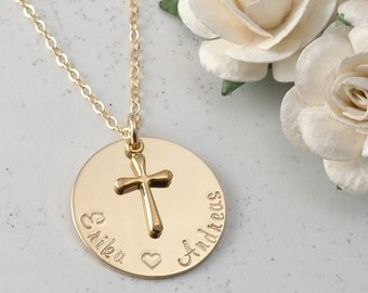 Personalized Gold charm necklace -  Hand Stamped - with Gold Cross Charm
