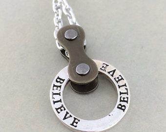Believe Bicycle necklace, bike jewelry, cycling accessories, bicycle chain jewelry, cycling jewelry, fixie jewelry, bmx necklace