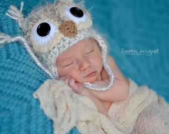 Baby Owl Hat - Newborn Fuzzy Owl Hat - Baby Crochet Hat Photo Prop