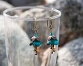 Teal Blue Bellflower Earrings - Antique Brass, Crystal, Dangle