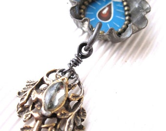 Good to the Last Drop Necklace- Assemblage Jewelry-Found Objects- Tin Images