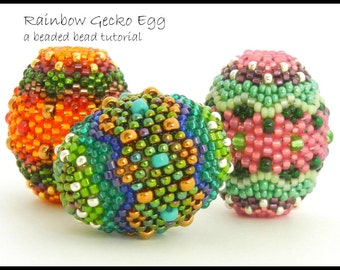 Beaded Bead tutorial by Sharri Moroshok - Rainbow Gecko Egg - peyote stitch - instant download pdf with photos and step by step instructions