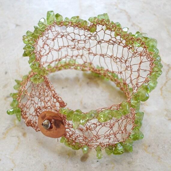Green Peridot Copper Bracelet, Green cuff bracelet, Green Peridot Crocheted Lace Bracelet, May birthday, Earthy bracelet