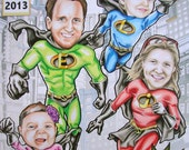 Super Hero Family of 4 Custom Portraits Comic Book Cover