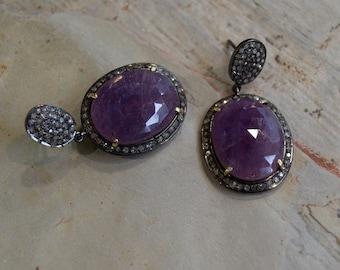 Oxidised Sterling Silver Earring, Purple Sapphire Diamond Earring, Large Stone Earring, Halo Set Sapphire, dangle earrings, bridal earrings