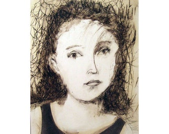 Woman portrait drawing original technique MATTED people figurative face young white black