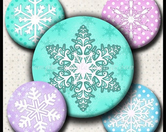 INSTANT DOWNLOAD Snowflakes (649) 4x6 and 8.5x11 Round ( 30mm ) Digital Collage Sheet glass tiles cabochon pendants images