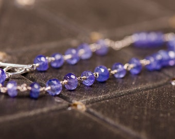 Tanzanite & Sterling Silver Bracelet with Toggle Clasp