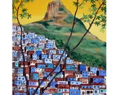 Blue Favela Rio de Janeiro Brazil Corcovado Christ the reedemer, Original artist print Wall Art, Free Shipping in USA