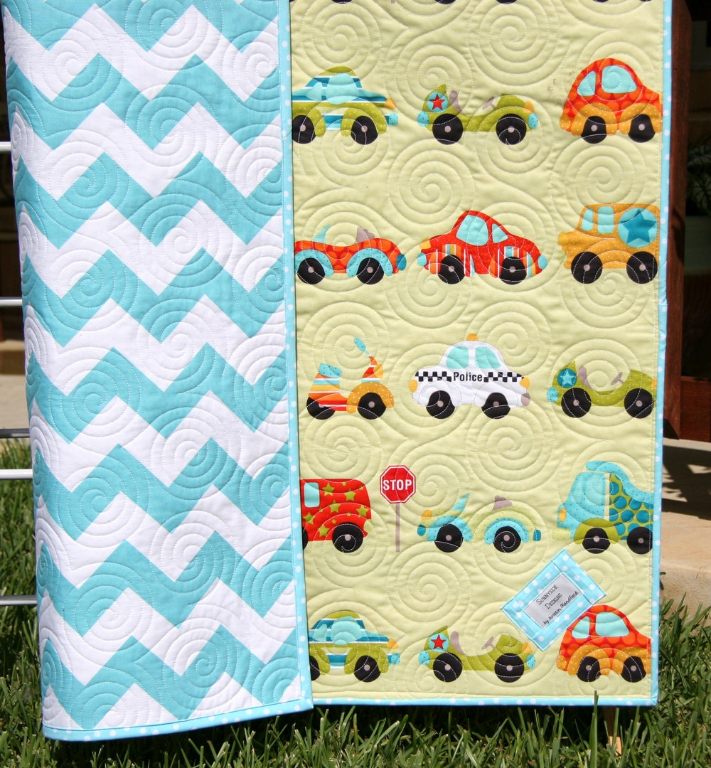 Chevron boy quilt baby blanket transportation by for Little blue truck fabric