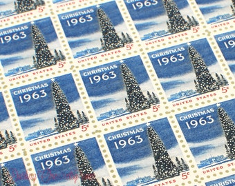 Set of 10 unused Christmas Tree stamps issued in 1963 to add to your holiday card postage