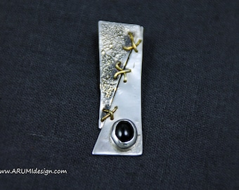 Sterling Silver Pendant ROUGH with BLACK ONYX stone and bronze sewings, made to order, hand crafted by ARUMIdesign