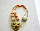 Orange Blossom Necklace - Brass Flower Charm - Sherbet Beaded Necklace - Boho Chic - OOAK