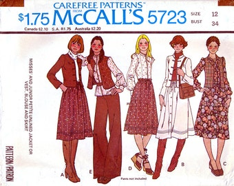 McCall's 5723 Vintage 70s Misses' Jacket or Vest, Blouse and Skirt Sewing Pattern - Uncut - Size 12 - Bust 34
