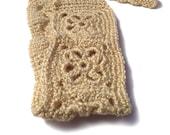 Crochet Headband, Boho Knit Hairband - in Ivory  Off- White, Cream, Creme With Gold Metallic Highlights