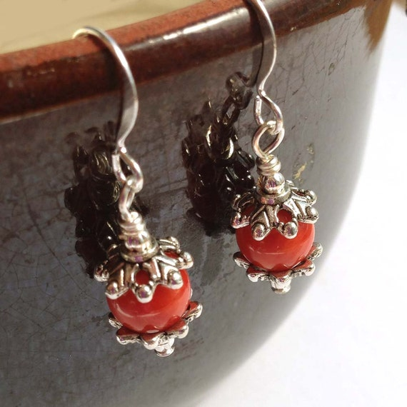 Bamboo Coral 8 mm Bead Gemstones On Silver Earwires and Silver Accent Dangle Earrings