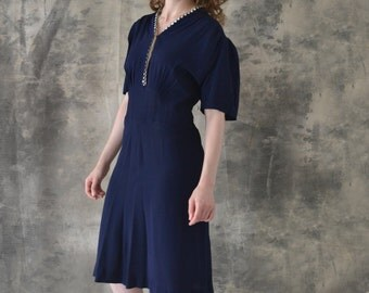 1940s Navy Rayon Dress