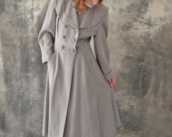 1940s Grey Wool Swing Coat