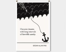 """Literary Art Print, """" Edgar Allan Poe"""" Large Wall Art Posters, Literary Quote Poster, Illustration, Black and White Art, Literary Gift"""
