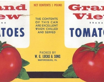 Grand View Tomatoes Vintage Can Label, 1930s