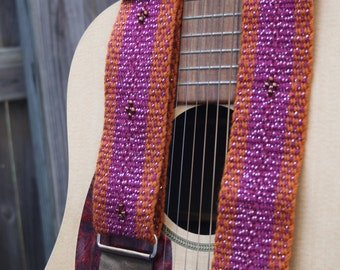 Copper Guitar Strap, Adjustable, Beaded Accents - Handwoven and Hand-sewn Inkle Weaving