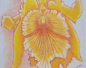 """Original Oil Painting, 12""""x12"""", Yellow Orchid Study 2, Tropical Floral, Flower Gift Idea on Canvas"""