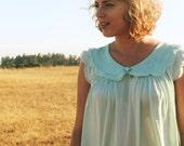 BLUE MOON Vintage 1960's Flutter Sleeve Nightie Night Gown Slip Dress Baby Doll Sky Blue Mini