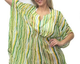 La Leela Stripe Beachwear Swimsuit Cover up Tube Kaftan Caftan Tunic Top Green For Women-900281
