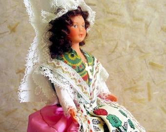 Vintage French Normandy Bayeux costume doll, folk doll, Gonzalez