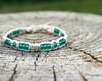 Beaded Hemp Bracelet, All Natural Hemp Bracelet with Frosty Green Glass Beads