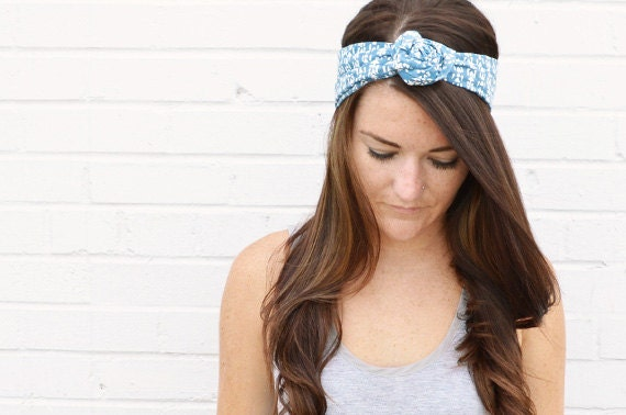 Twist Hair Scarf - Screenprinted Wire Headband - Chambray Light Blue
