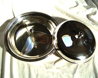 1930's Vintage Barbour Silver Co. Silverplate Partitioned Covered Serving Dish Three Divided Sections