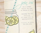 VINTAGE Mason Jar BBQ Lemonade Barbeque Party Engagement Party Rehearsal Dinner Invitation - Printable digital file or printed invitations