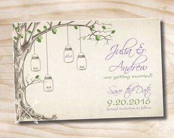 50 PRINTED WITH ENVELOPES- Vintage Tree Mason Jar Wedding Save the Date