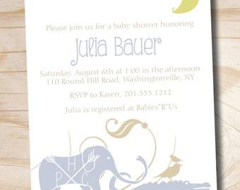 Jungle Safari Crocodile Elephant Baby Shower Invitation Digital Design - Printable Digital file or Printed Invitations