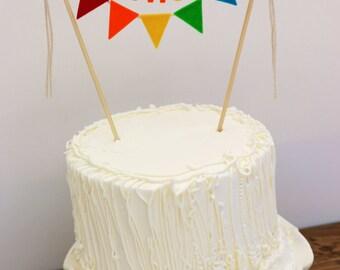 First Birthday Cake Banner, Birthday Cake Banner, Rainbow Cake Banner, One Cake Banner, Birthday Cake Bunting:  Rainbow One
