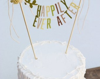 Wedding Cake Banner, Wedding Cake Topper, Happily Ever After Banner:  Happily Ever After
