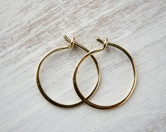 Hammered Yellow Gold Hoops, Tiny Hoop Earrings, Classic Hoops, Yellow Gold Plated Wire, Minimalist, Modern Jewelry, Gift for Mom, EA002