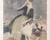 Mom and daughters, windy shore - Vogue magazine - print up to 11 x 14 - Vintage Art Digital Download