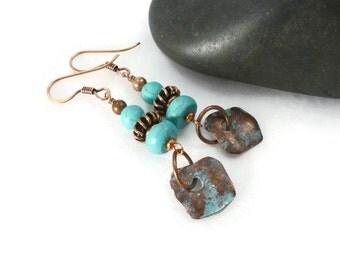 Turquoise Earrings, Boho Turquoise Jewelry, Rustic Earrings, Blue Stone Earrings, Unique Jewelry