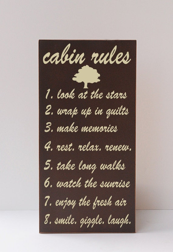 Cabin Rules Cabin Decor Mountain Rustic Woodsy