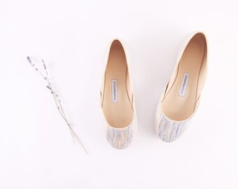 Pastel Blue Print Leather Ballet Flats | Mosaic Pattern | Ballerina Dancer Style | Tribal Motive Shoes ... Rainbow...Ready to Ship