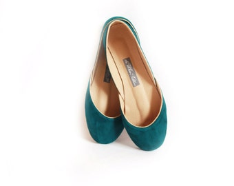 Teal Nubuck Ballet Flats | Women's Flat Leather Shoes | Pointe Style Minimalist Shoes | Teal ... Made to Order