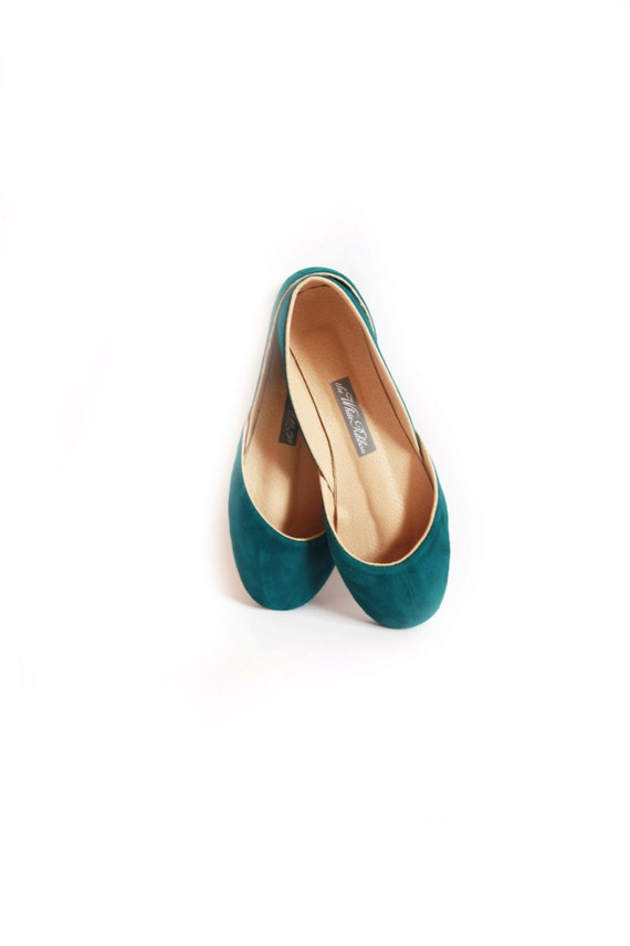 up-cycled soft suede ballet flats in teal...ready to ship