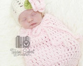 Swaddle Sack and Matching Beanie in Pale Pink, Ecru and Celery Green in Newborn Size- MADE TO ORDER